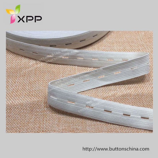 White Elastic Tape with Button Hole
