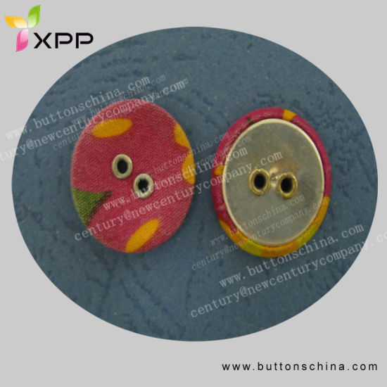 Metal Fabric Button with 2 Brass Eyelet