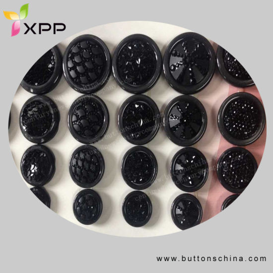 Black Color Fashion Polyest Coat Sewing Button